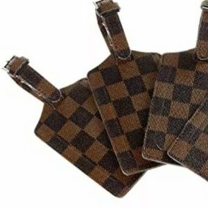 Two checkered luggage tags